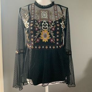 Sheer embroidered top